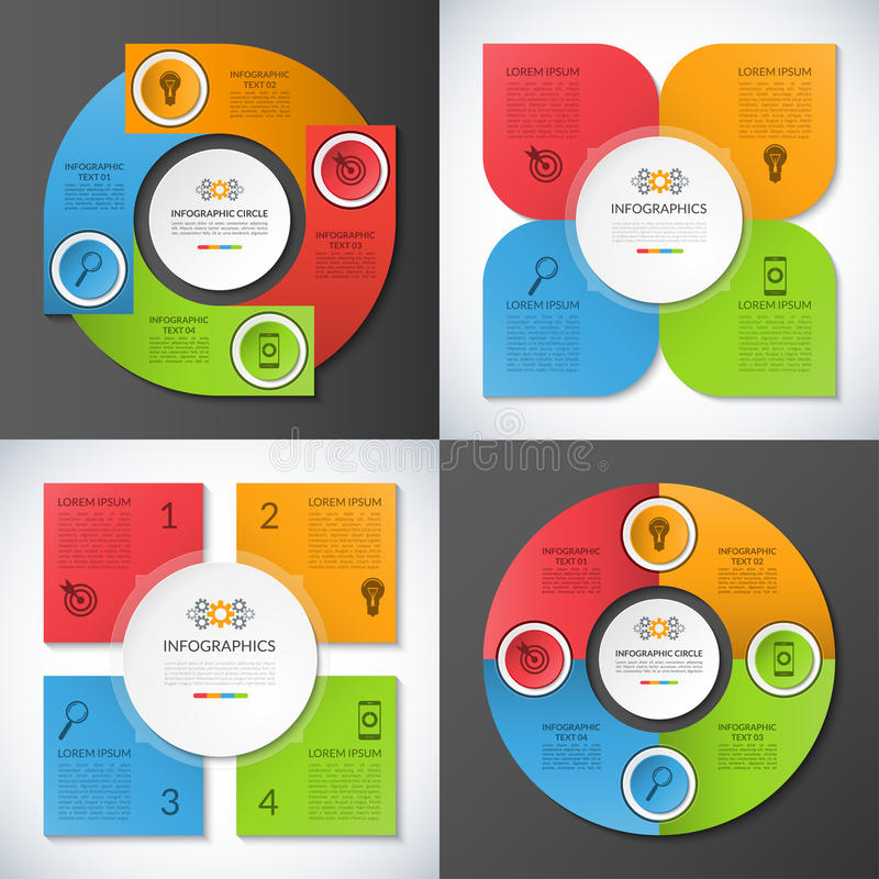Set of infographic circles, banners, templates royalty free illustration