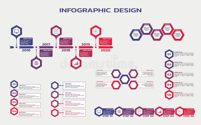 Set of infographic design. flowcharts and workflow steps infographics with hexagons and text vector illustration