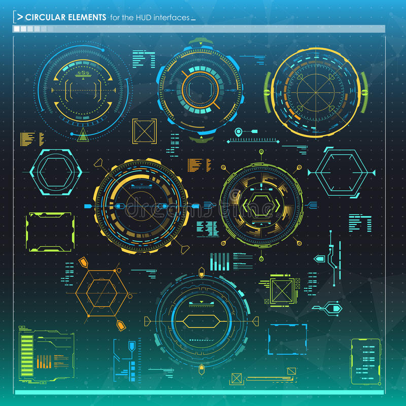 Set of infographic elements. Head-up display circular elements for the web and app. Futuristic user interface. Virtual vector illustration