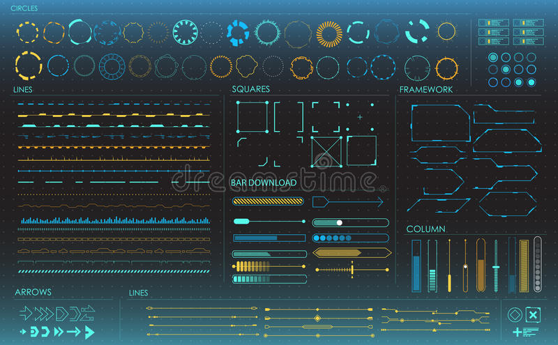 Set of infographic elements. Head-up display elements for the web and app. Futuristic user interface. Virtual graphic. stock photo