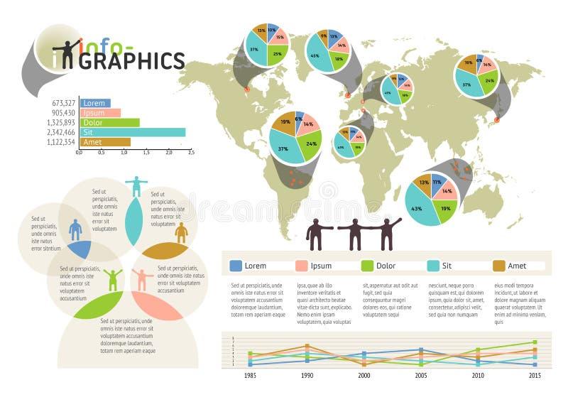 Set infographic elementy. Wizualna statystyczna informacja ilustracji