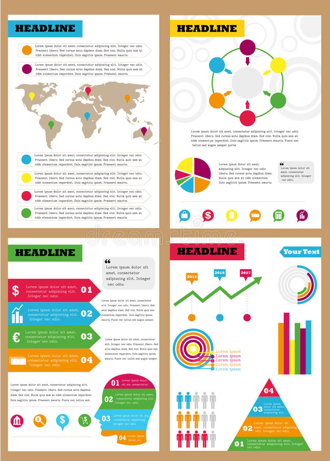 Set of infographic leaflets, prospects. Can be used in different directions for sales, marketing, economic departments. Set of infographic leaflets, prospects royalty free illustration