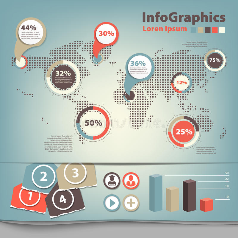Download Set infographic with map stock vector. Image of internet - 32007545