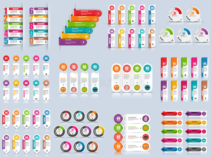 Set of infographic options vector design template. Can be used for workflow layout, data visualization stock illustration