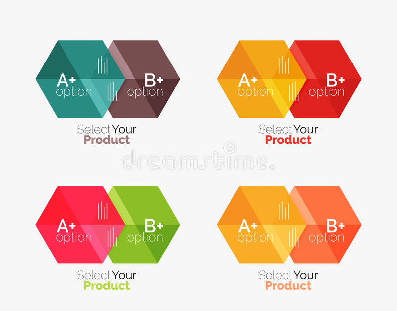 Set of infographic templates with text and options. Elements of business brochure, presentation and web design navigation layout royalty free illustration