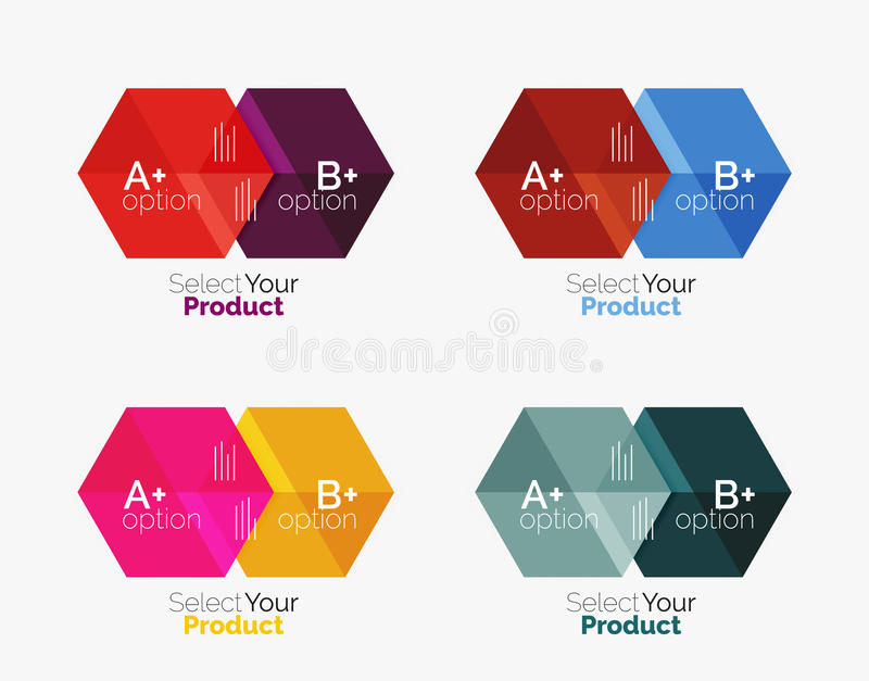 Set of infographic templates with text and options. Elements of business brochure, presentation and web design navigation layout vector illustration