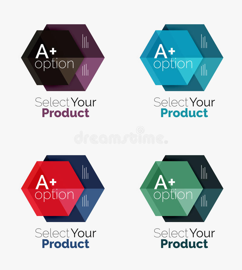 Set of infographic templates with text and options. Elements of business brochure, presentation and web design navigation layout stock illustration