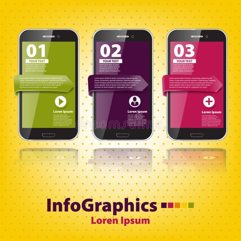 Download Set Infographic With Three Smartphones Stock Vector - Image: 31953560