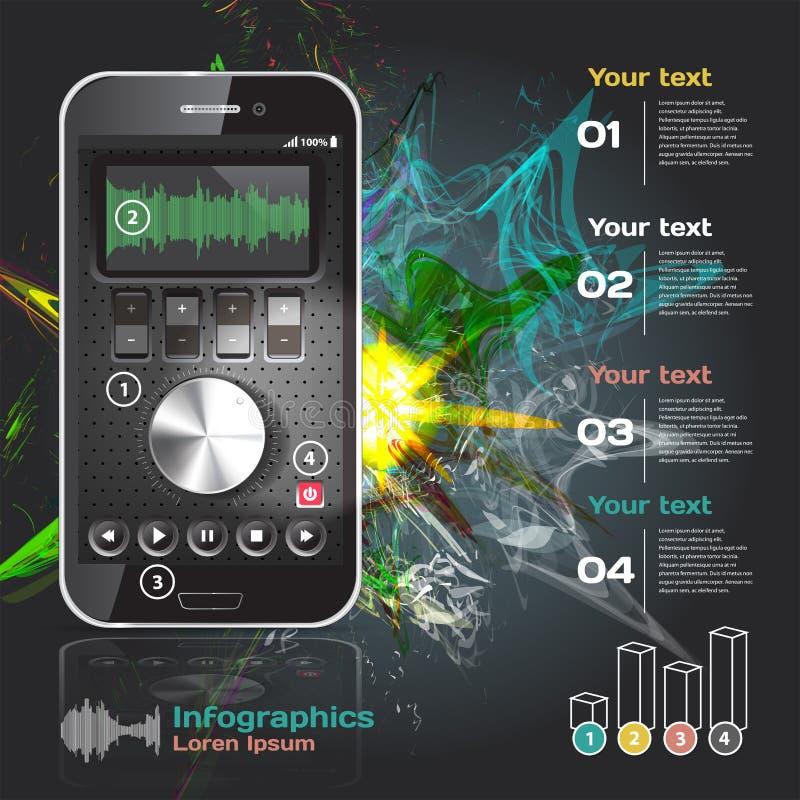 Set infographics dla smartphone zastosowań ilustracja wektor