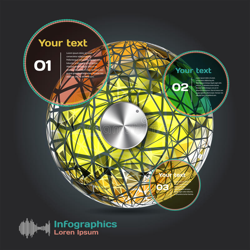 Set infographics with dots and lines on a dark background. On theme digital technology and internet stock illustration