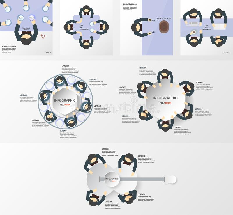 Set of infographics elements with business men team. Template for business presentation and motion graphic with copy space for te stock illustration