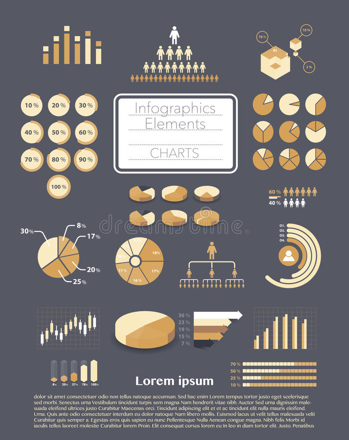 Set of infographics elements. Various charts, graphs, diagrams royalty free illustration