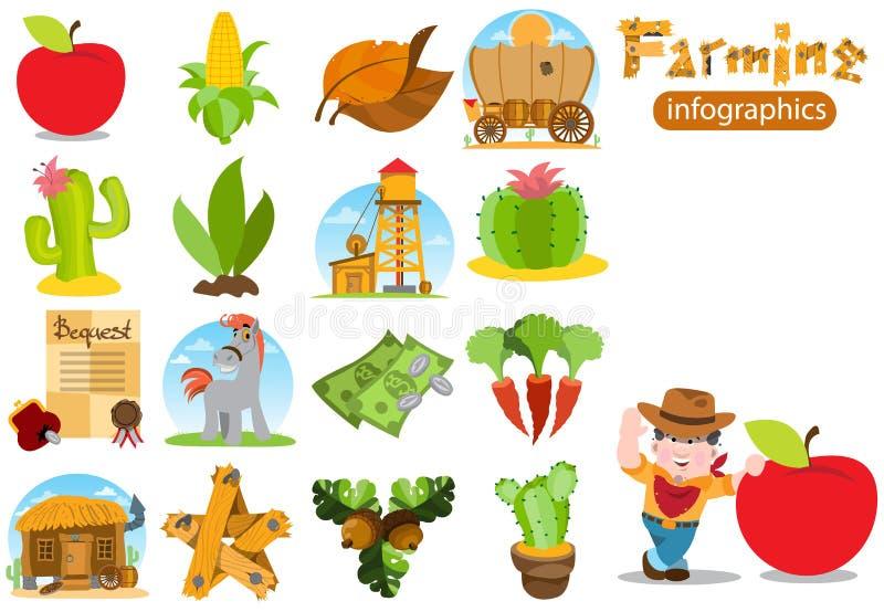 Set infographics na uprawiać ziemię Rolnictwo koloru ilustracje ilustracja wektor