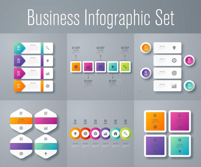 Set with infographics royalty free illustration