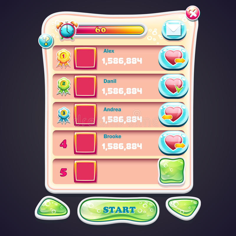 Set Information panel with beautiful shiny buttons and the various elements of the game design for computer games stock illustration