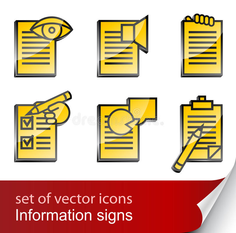 set informational sign icon stock vector illustration of
