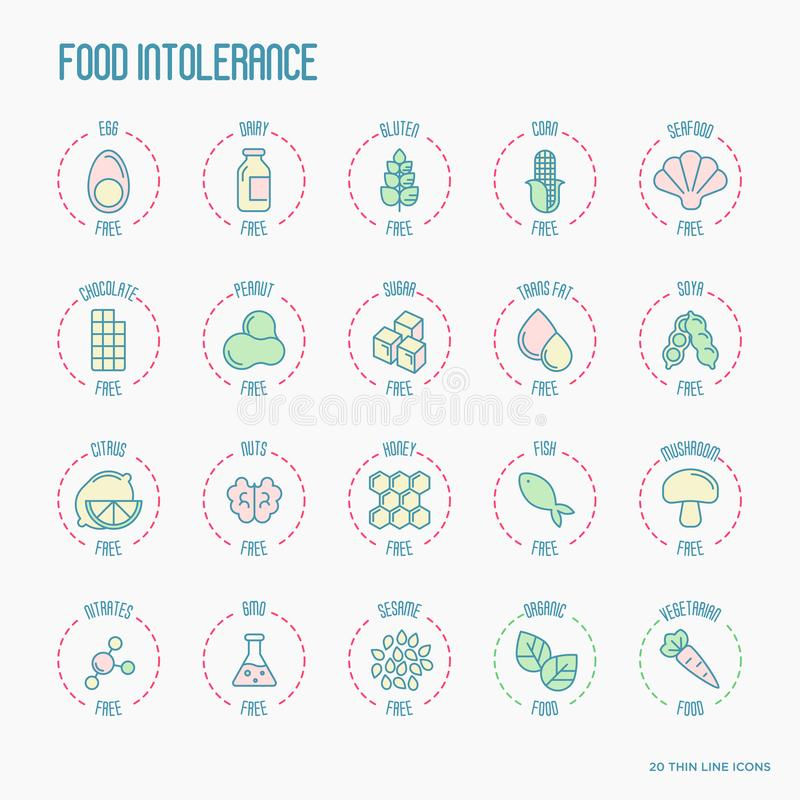Set of ingredient warning label icons. Food intolerance. Common allergens gluten, lactose, soy, corn and more, sugar and trans fat, vegetarian and organic vector illustration