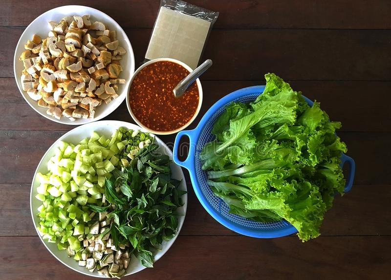 A set of ingredients for cooking Nam neung , Viatnam food on wooden table royalty free stock photos