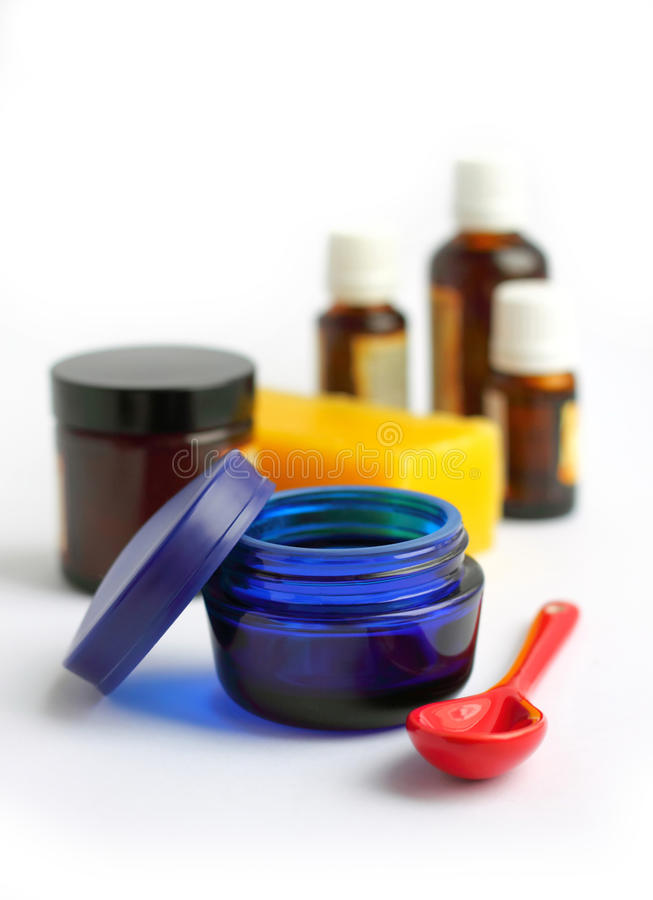 Ingredients for making homemade cosmetics royalty free stock photography