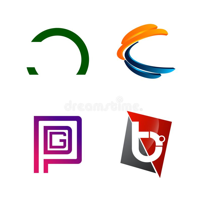 Set of initial letter C, PGD, B, half circle symbol for Business logo design template. Collection of Abstracts modern icons for stock image