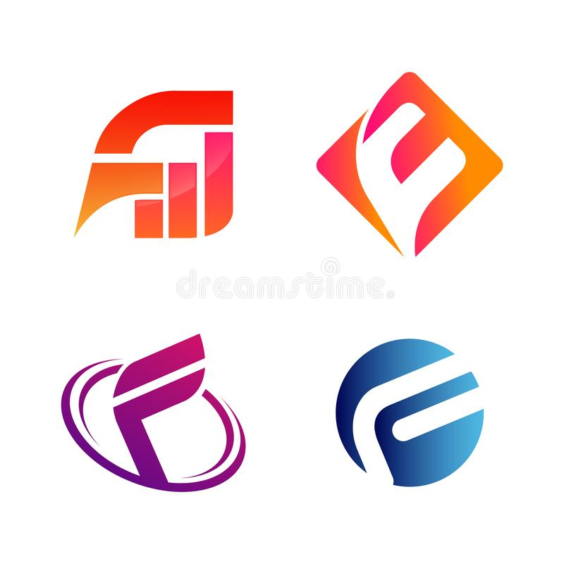 Set of initial letter FW and F symbol for Business logo design template. Collection of Abstracts modern icons for organization. Font square swoosh circle vector illustration