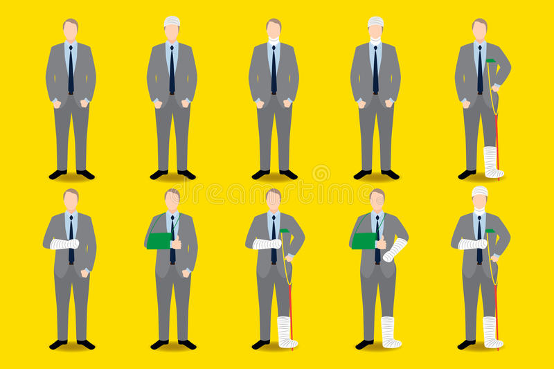 Set of injuries businessman icon. Broken arm, leg, head, torso with bandage and plaster casted. Set of injuries businessman with suit icon. Broken arm, leg royalty free illustration