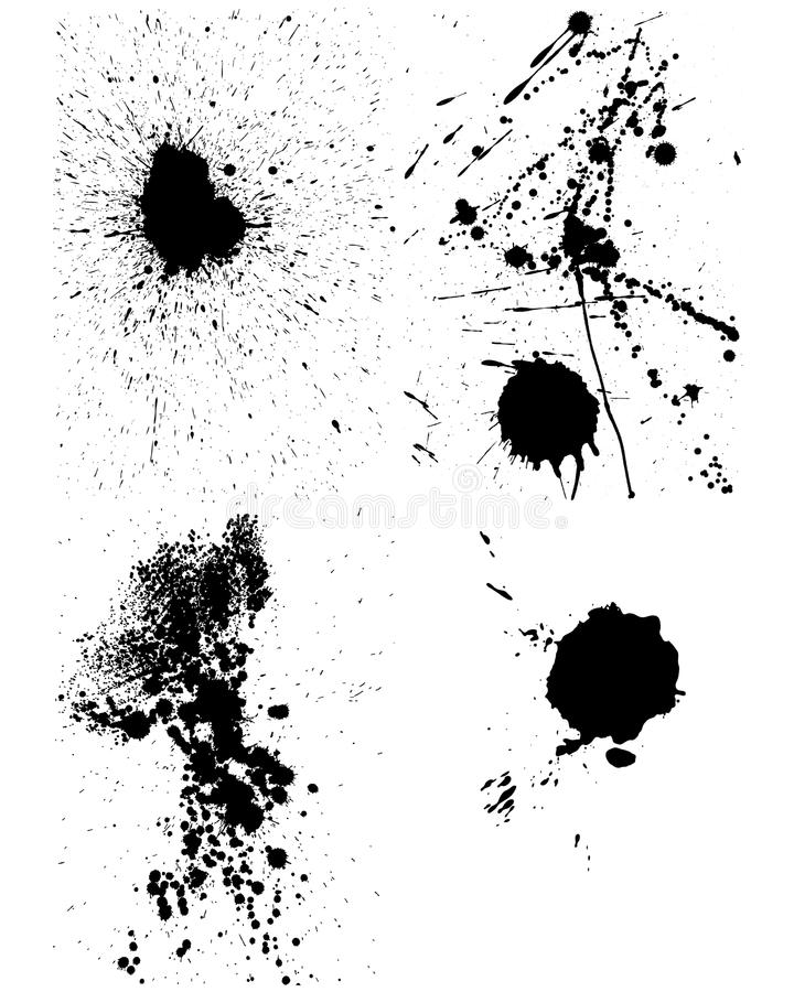 Set of ink blots royalty free illustration