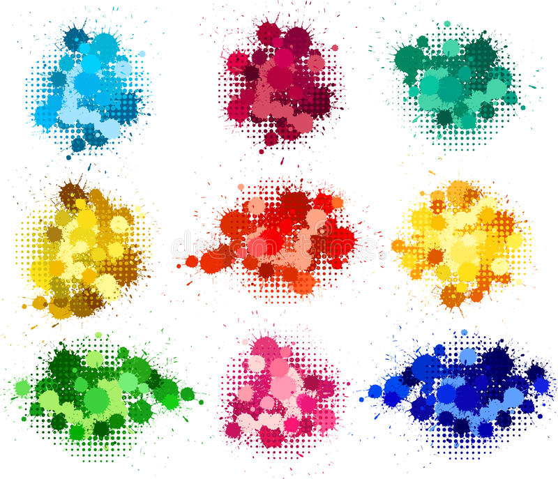 Set Of Ink Blots Royalty Free Stock Images