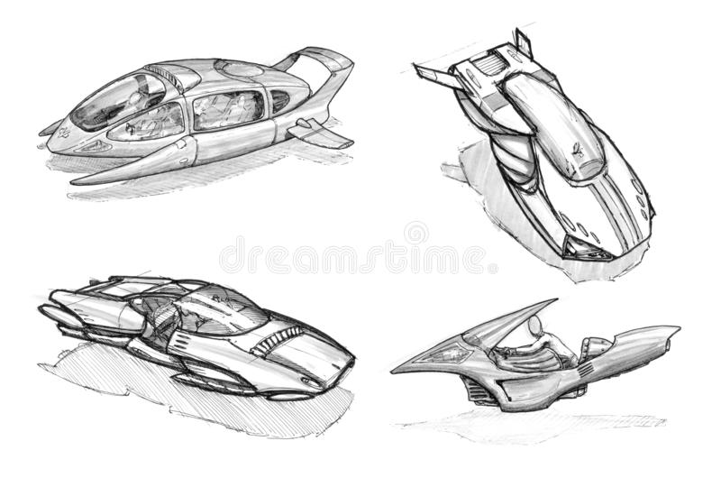 Set of Ink Concept Art Drawings of Futuristic Hoover or Flying Cars or Vehicles. Set of black and white ink concept art drawings of hoover or flying cars or stock illustration