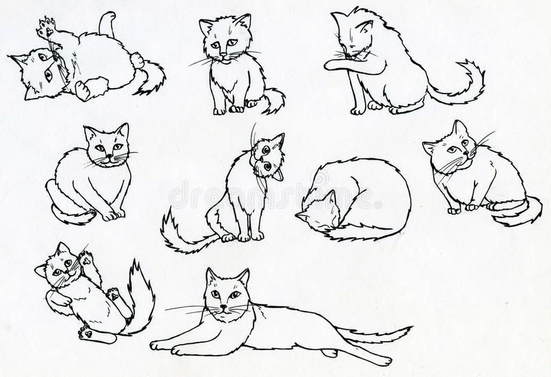 Download Set of ink drawn cats stock illustration. Illustration of happy - 33020916