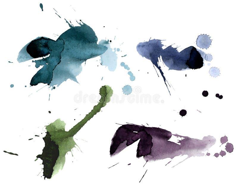 Set Of Ink Splashes Stock Photos
