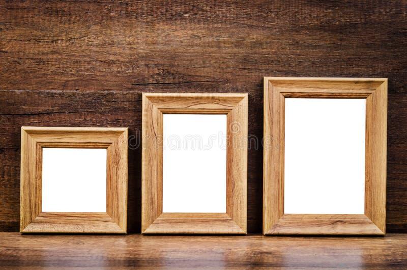 Set inkasowa pusta drewniana fotografii rama zdjęcia royalty free