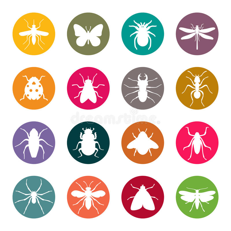 Set of insect silhouettes royalty free illustration