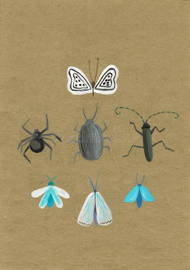 Set of insect stickers. Minimalist beetles and butterflies with flowers and patterns. stock photography