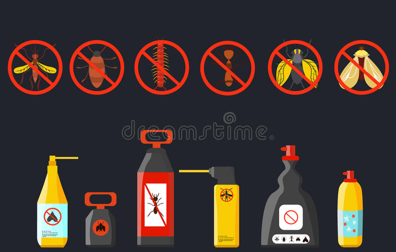Set insecticides . Spray for mosquitoes , beetles . Vector. Set insecticides . Spray for mosquitoes , beetles Vector illustration royalty free illustration