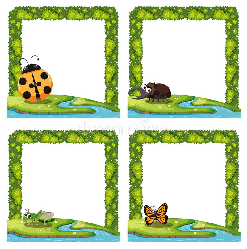Set insekt natury granica royalty ilustracja