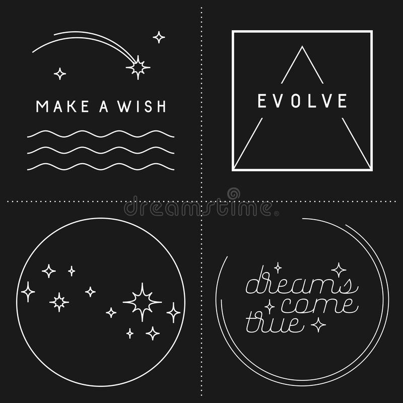 Set of inspirational quote designs. In linear style royalty free illustration