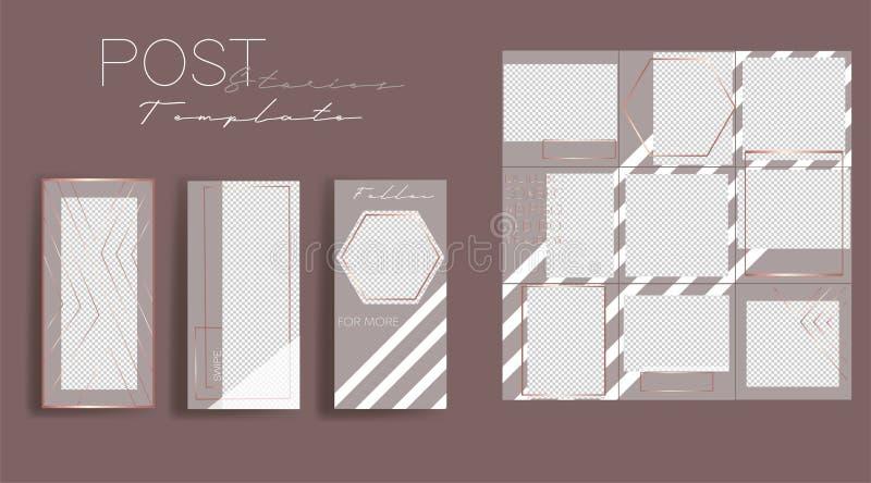 Set instagram kolaż Wektor pokrywa Projekt?w t?a dla og?lnospo?ecznego medialnego sztandaru Set Instagram opowieści ramowi szablo royalty ilustracja
