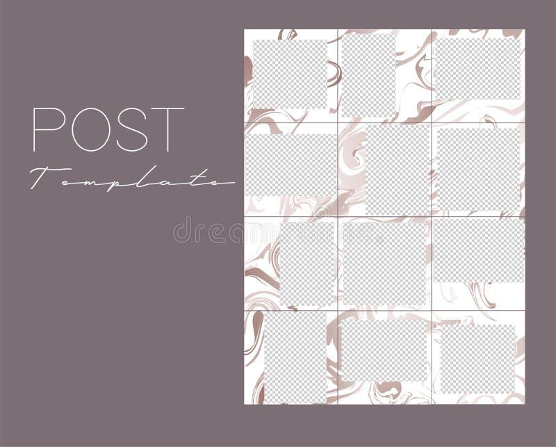 Set Instagram kolaże Wektor pokrywa Projekt?w t?a dla og?lnospo?ecznego medialnego sztandaru Set ramowi szablony ilustracja wektor