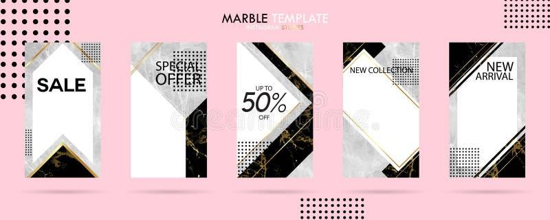 Set Instagram opowieści szablonu paczka z luksusową modną marmurową teksturą, może używać dla sprzedaż sztandaru, fotografia, mob royalty ilustracja