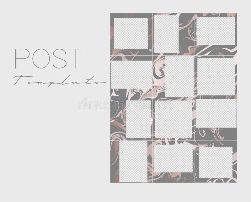 Set Instagram poczty kolaże Wektor pokrywa Projekt?w t?a dla og?lnospo?ecznego medialnego sztandaru Set ramowi szablony royalty ilustracja