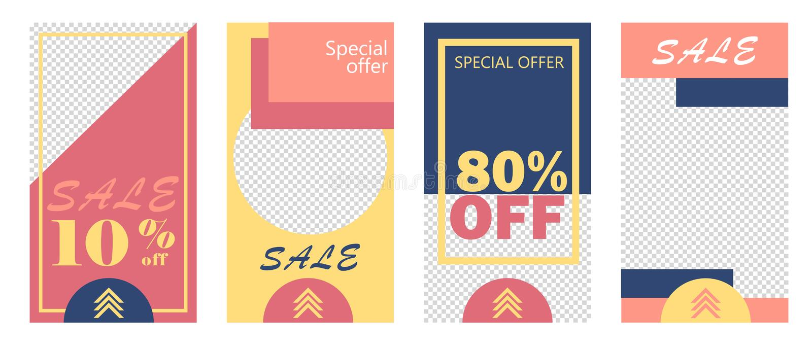 Set of Instagram stories sale banner background, instagram template photo royalty free illustration