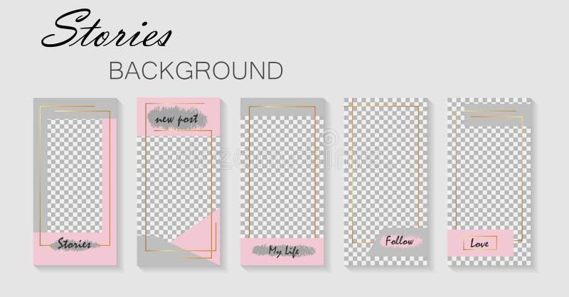 Set of instagram stories template.Design layout backgrounds for social media.Layout, cover templates for story .Mockup for instagr stock illustration