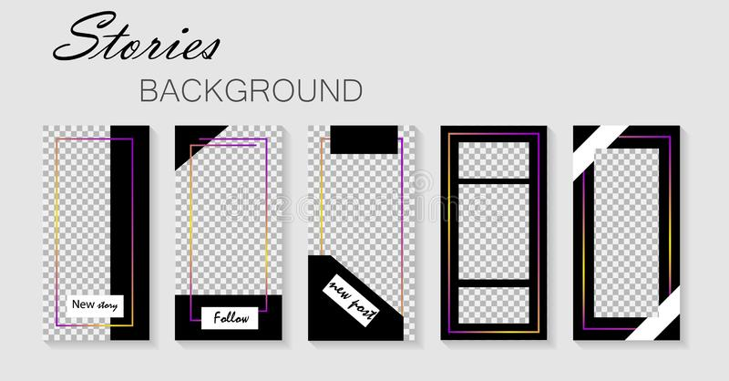 Set of instagram stories template.Design layout backgrounds for social media.Layout, cover templates for story.Mockup insta. royalty free illustration
