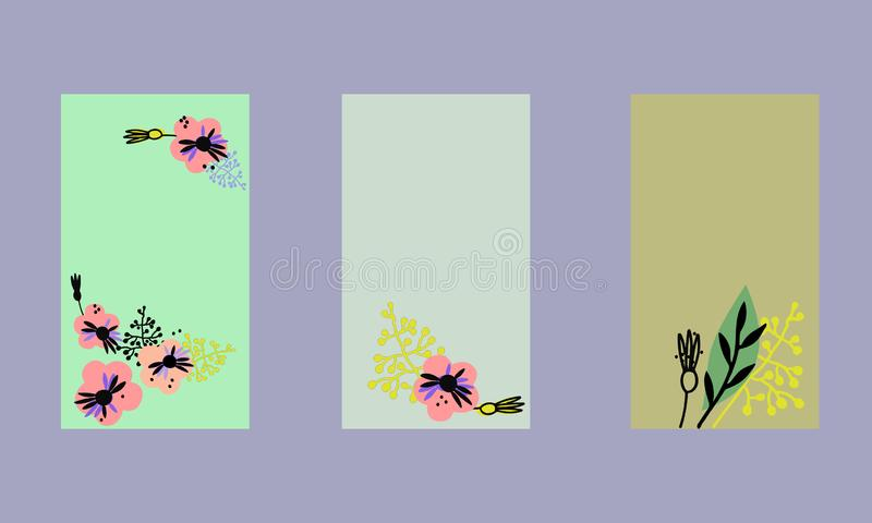 Set of social media stories templates. Floral backgrounds in Scandinavian style, pastel colors stock illustration
