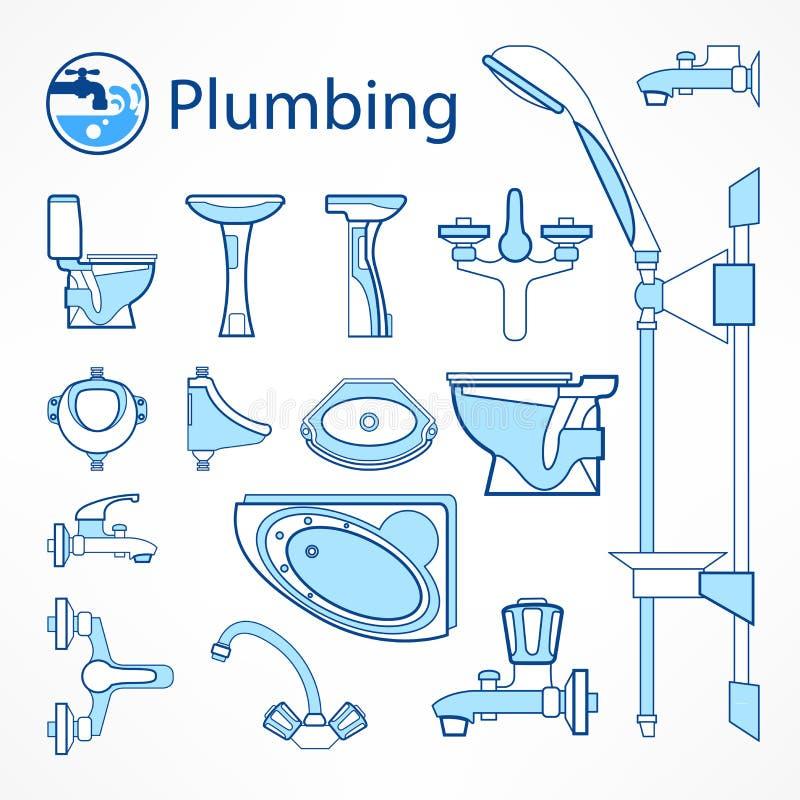 Set instalaci wodnokanalizacyjnej linii ikony w błękicie ilustracji