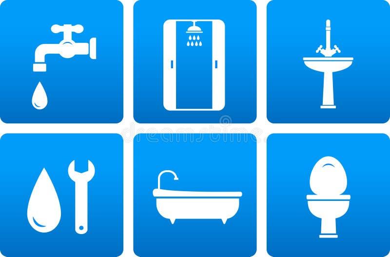Set instalacj wodnokanalizacyjnych ikony royalty ilustracja