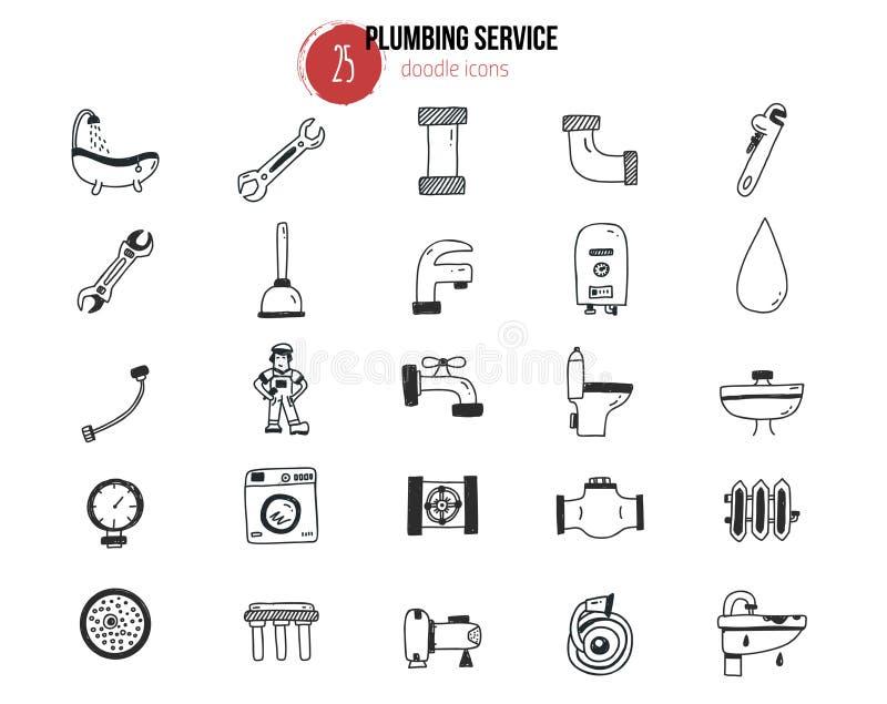 Set instalacj wodnokanalizacyjnych usługa ikony w doodle ręka rysującym stylu ilustracji