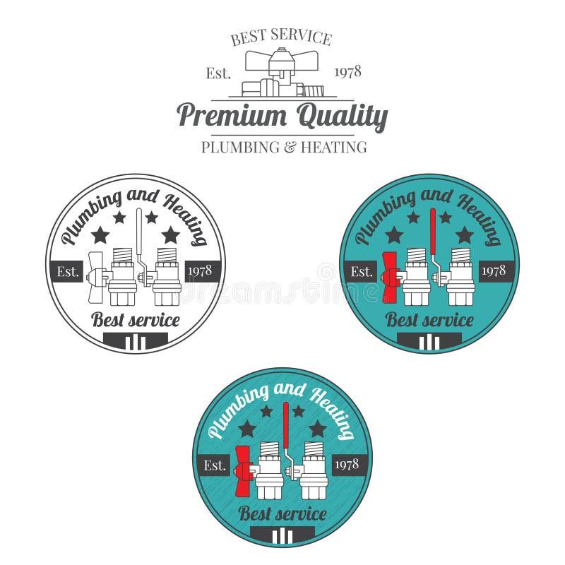 Set instalacja wodnokanalizacyjna i grzejne rocznik etykietki Plenerowy dla ciebie comp royalty ilustracja