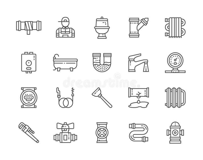Set instalacji wodnokanalizacyjnych usług linii ikony Wanna, toaleta, bojler, hydraulik i więcej, ilustracja wektor